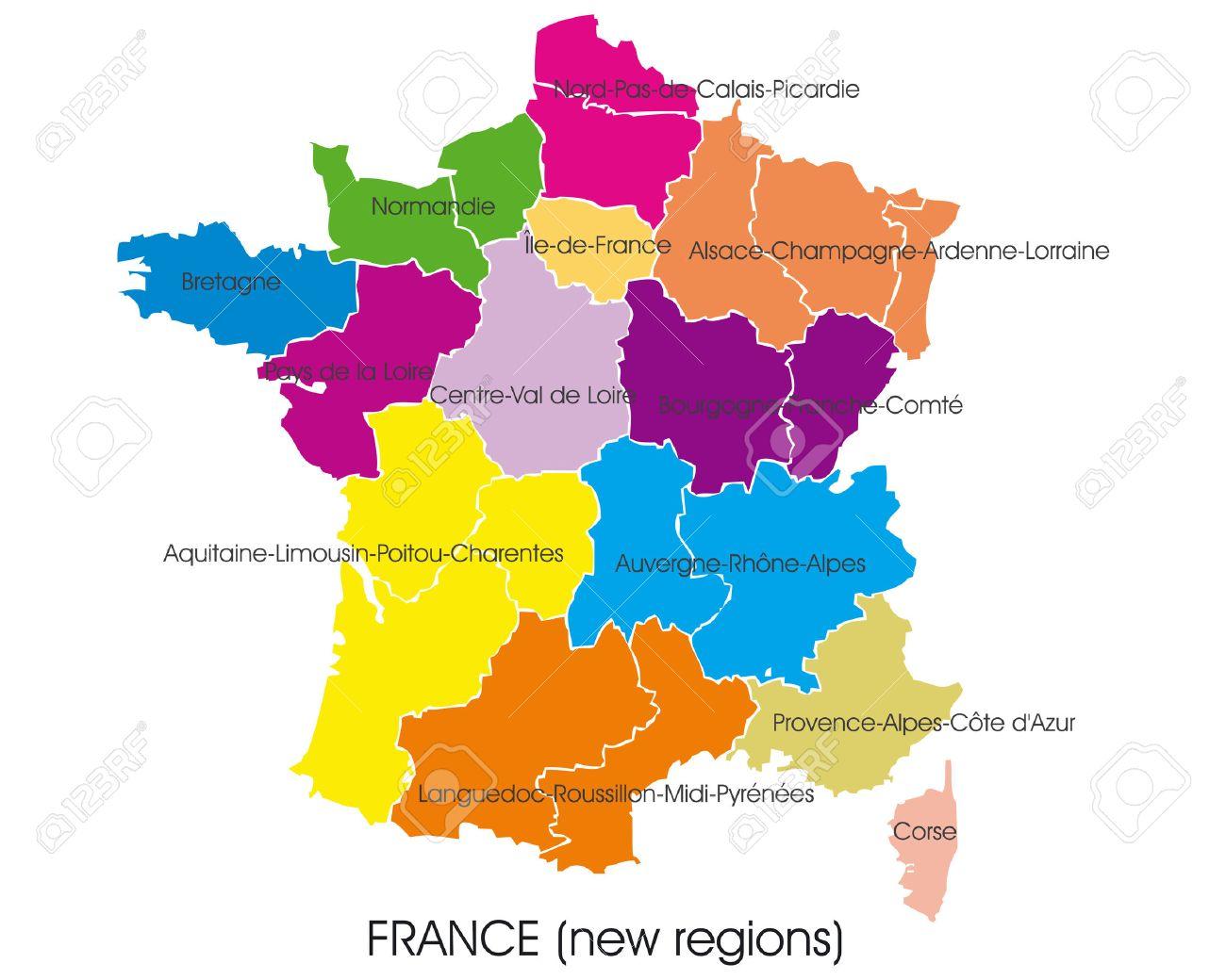 France Carte Vectorielle De Nouvelles Regions Clip Art Libres De Droits Vecteurs Et Illustration Image 49504506