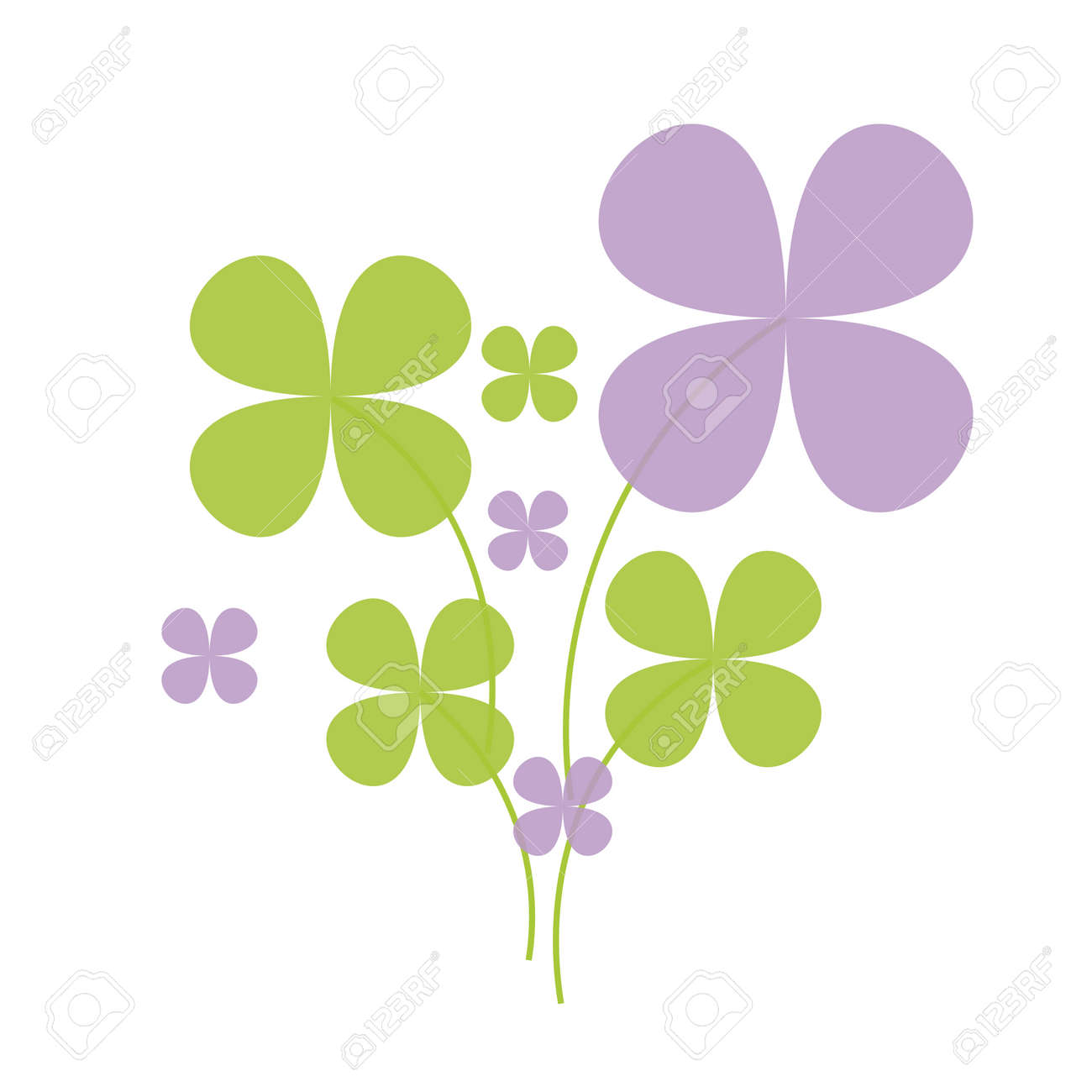 Lucky green and lilac shamrock on white background Stock Vector - 10192820