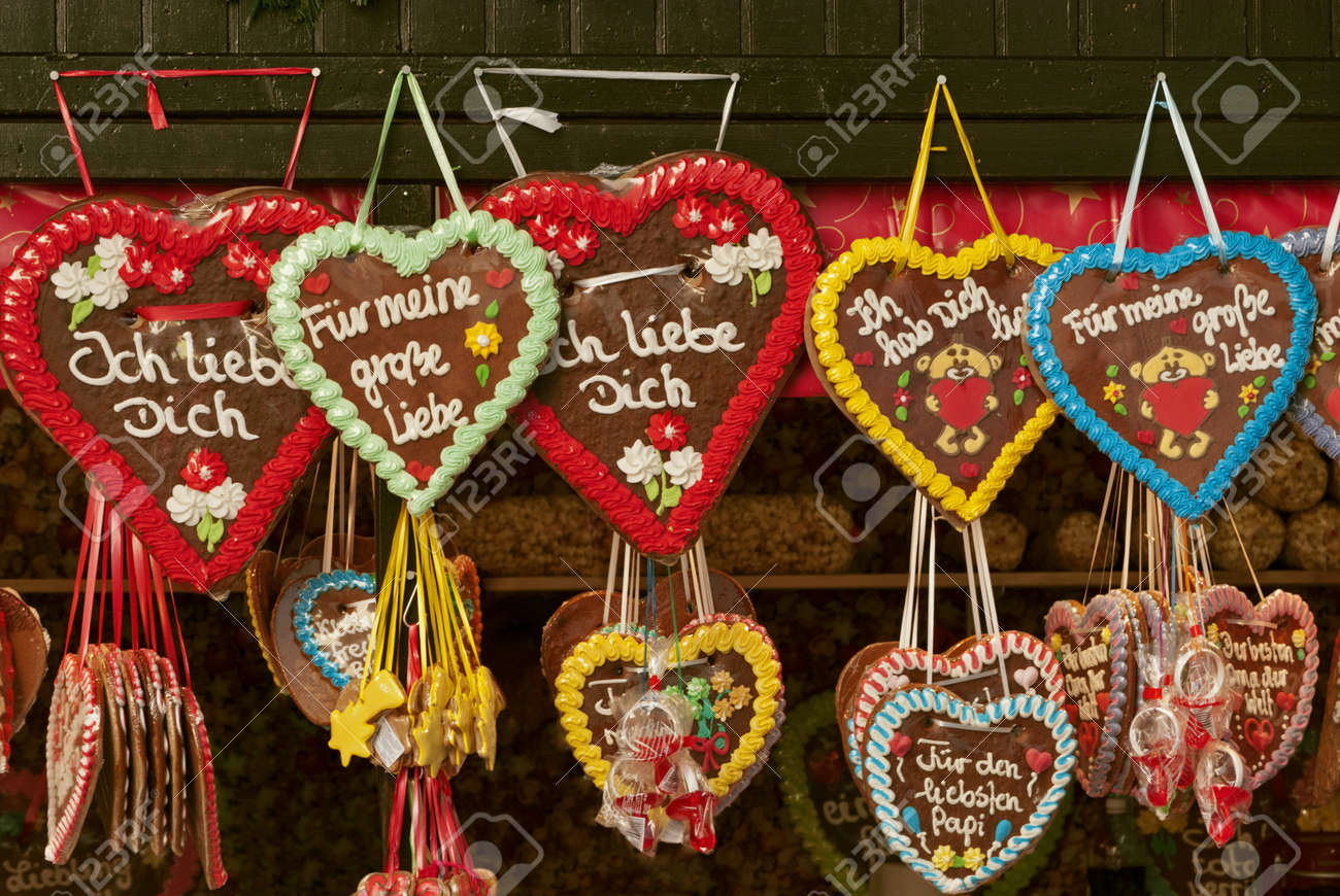 Colorful Traditional Gingerbread Hearts At Christmas Market In