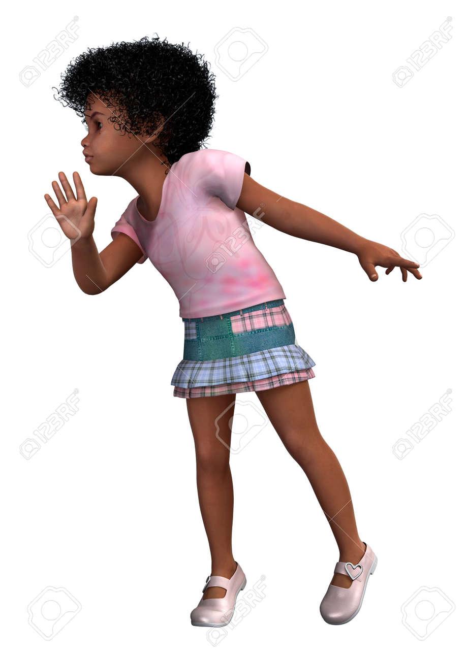 Digital 3D render de una niña africana lindo aislado en el fondo blanco  Foto de archivo 55e1bb6f7c8