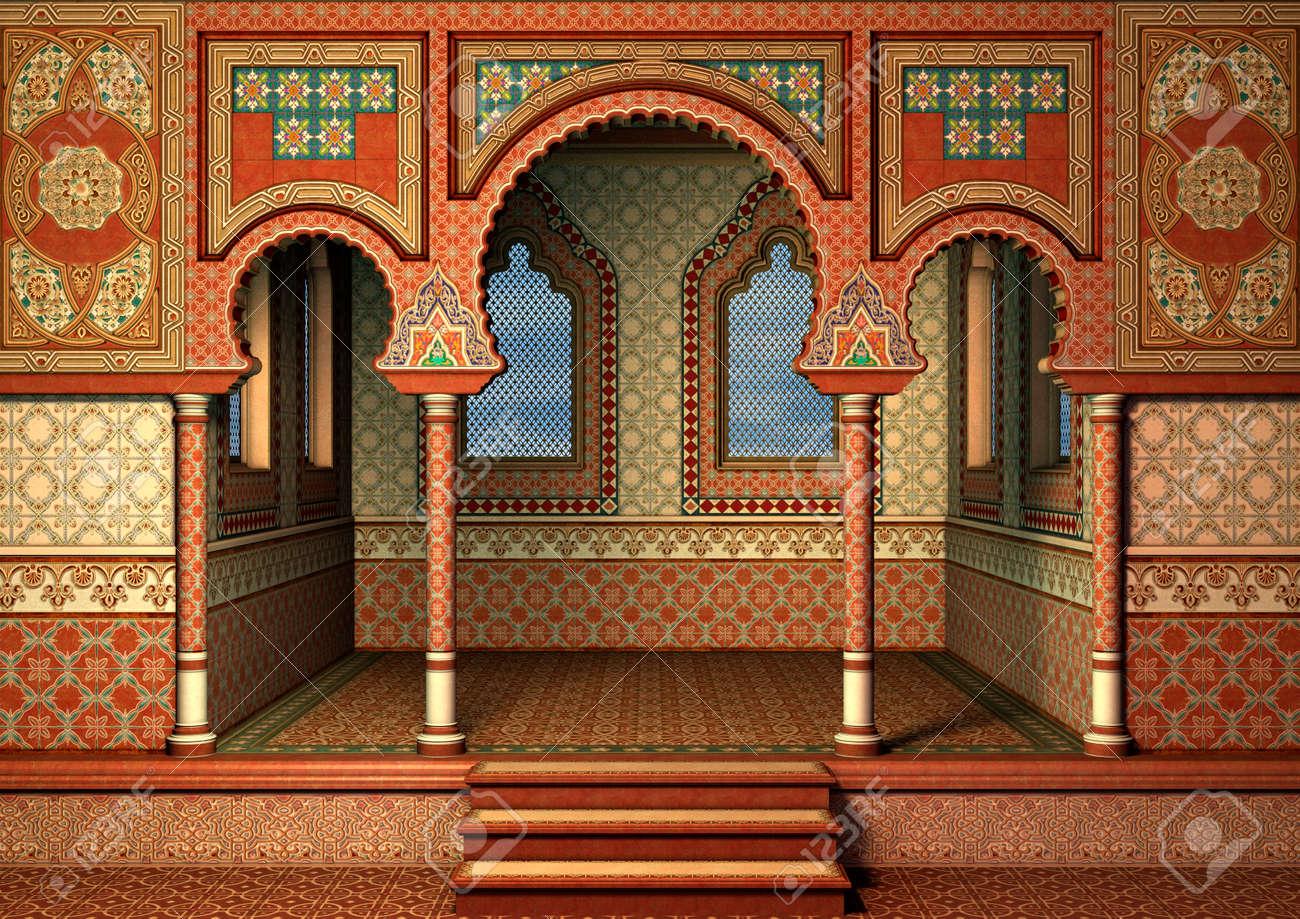3D digital render of a fairytale oriental palace, blue sky in the windows - 33440670