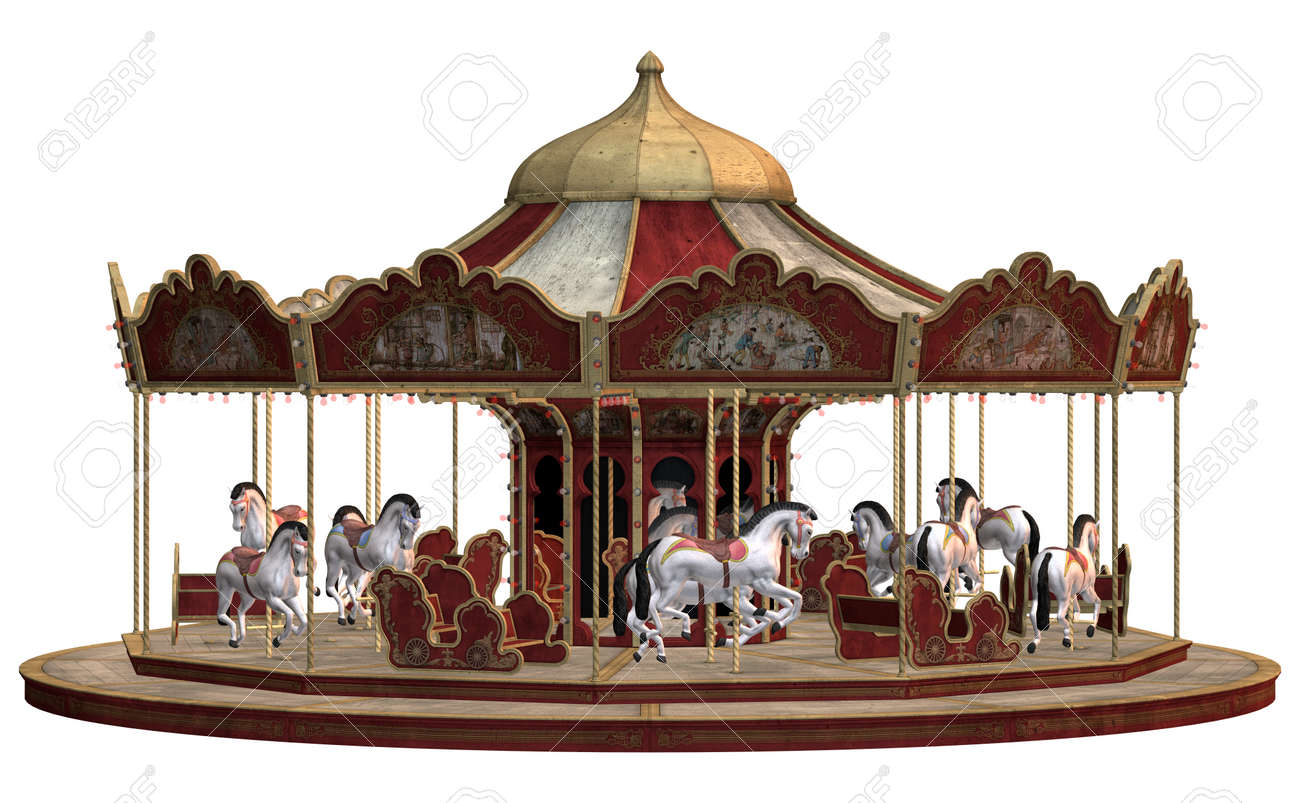 3d digital render of a vintage carnival carousel isolated on stock