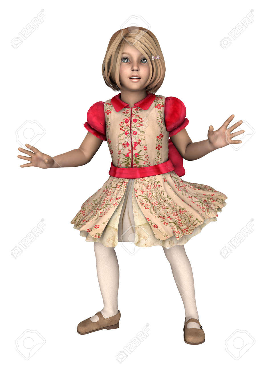 d52a81542 3D digital render of a cute blond little girl wearing a red vintage dress  isolated on