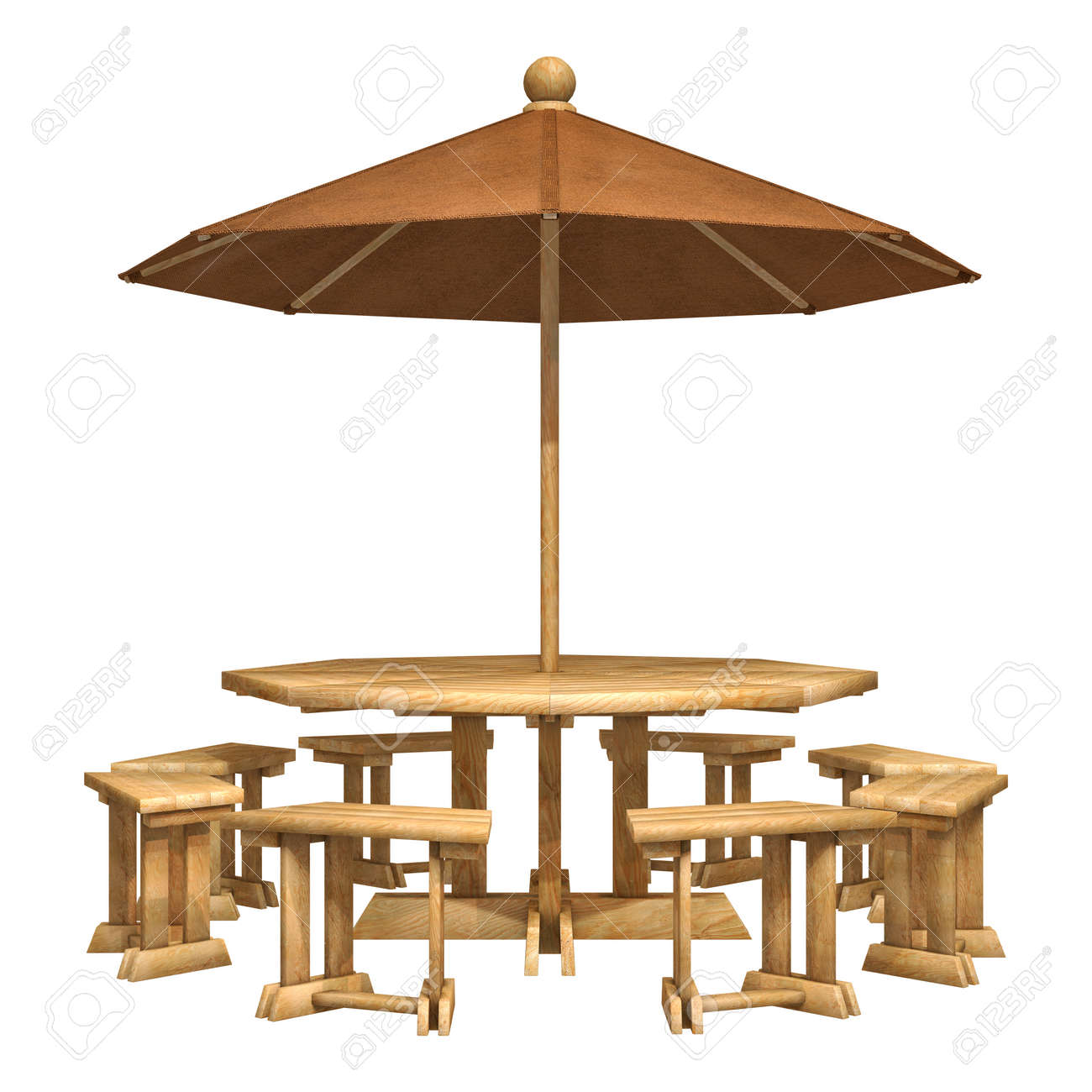 Awesome 3D Digital Render Of A Wooden Patio Table Chairs And Umbrella Pdpeps Interior Chair Design Pdpepsorg
