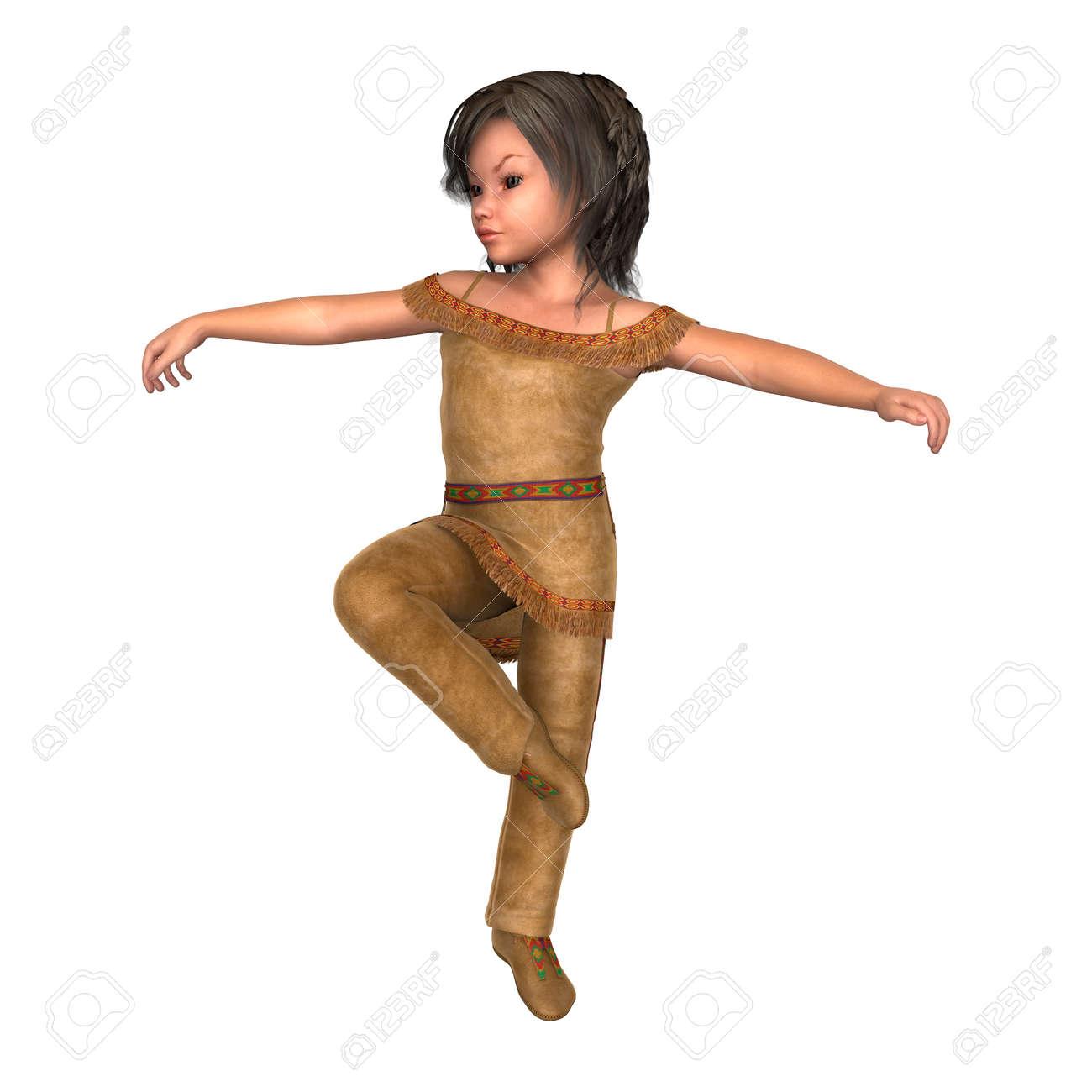 Foto de archivo - Ilustración 3D de una niña indio aislado en el fondo  blanco b34f6979753