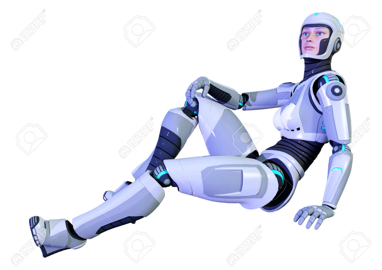 3D rendering of a female robot isolated on white background - 140642286