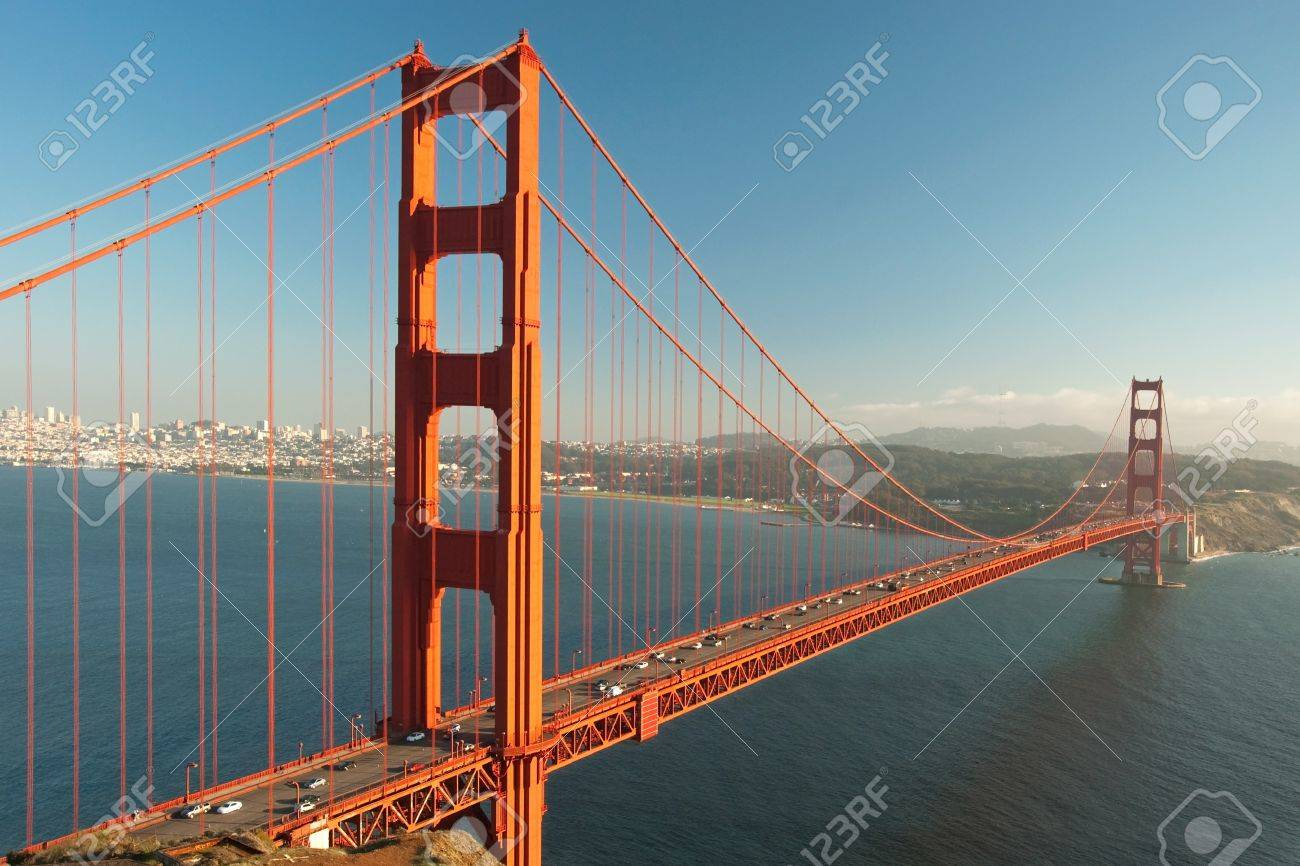 The Golden Gate Bridge in San Francisco during the sunset with beautiful azure ocean in background Stock Photo - 18386457