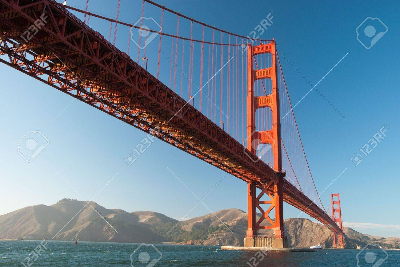 The Golden Gate Bridge in San Francisco during the sunset with beautiful azure ocean in background Stock Photo - 18386458