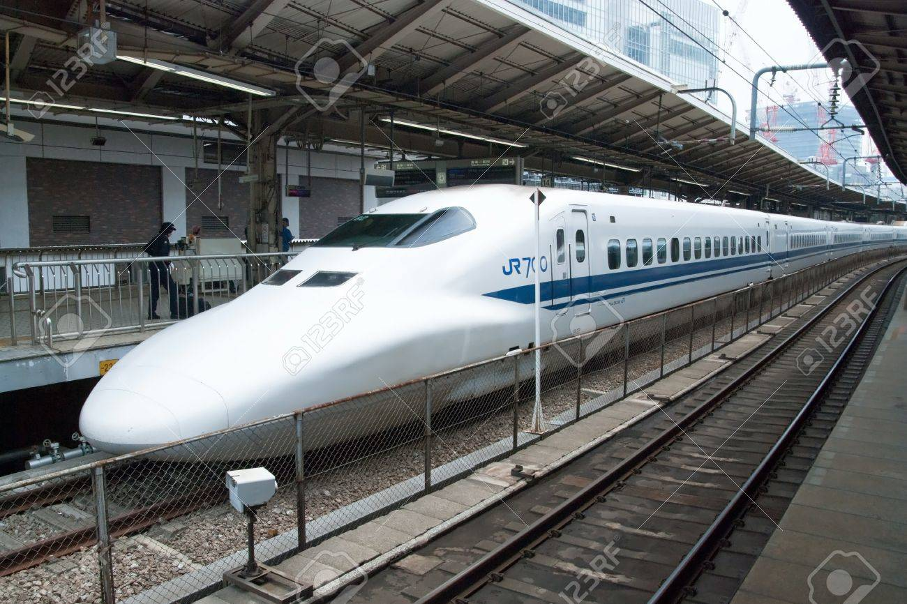 Tokyo, Japan - May 17, 2012: Shinkansen bullet train at Tokyo main railway station in May 17, 2012 Tokyo, Japan.Shinkansen is world's busiest high-speed railway operated by four Japan Railways group companies. Stock Photo - 18431833