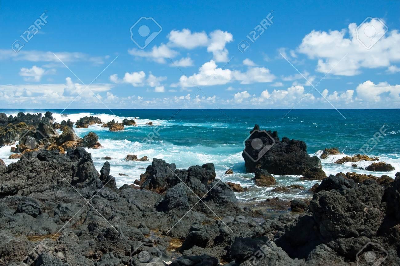 Volcano Rocks On Beach At Hana Maui Hawaii Stock Photo Picture