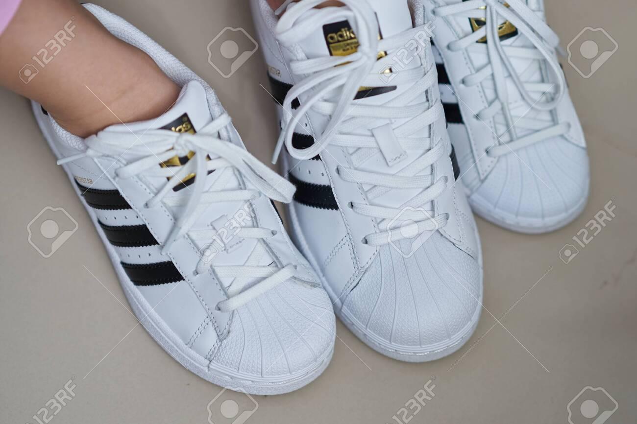 Bangkok ,Thailand,July 18 ,2018-Three White Sneaker Shoes Brand ...