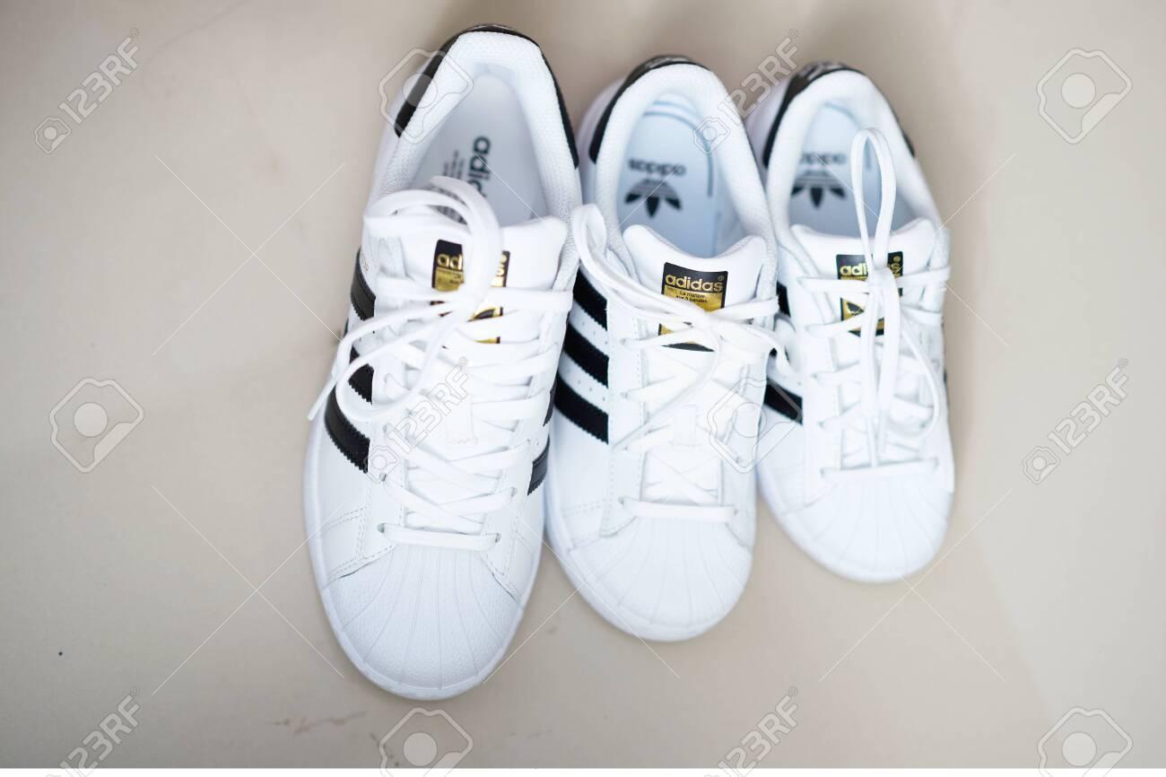 Bangkok ,Thailand,July 18 ,2018-Three white sneaker shoes brand..
