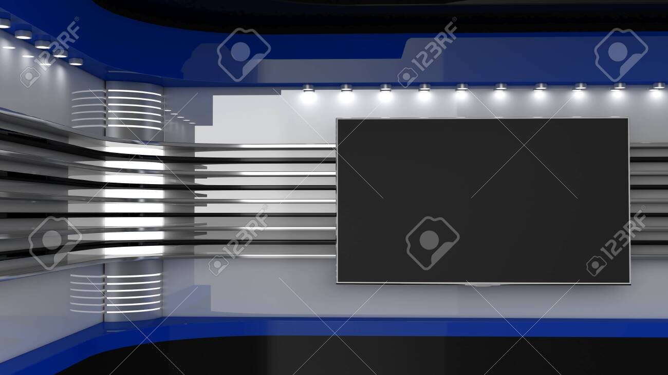 Tv Studio. Blue studio. Backdrop for TV shows. TV on wall. News studio. The perfect backdrop for any green screen or chroma key video or photo production. 3D rendering. - 152012544