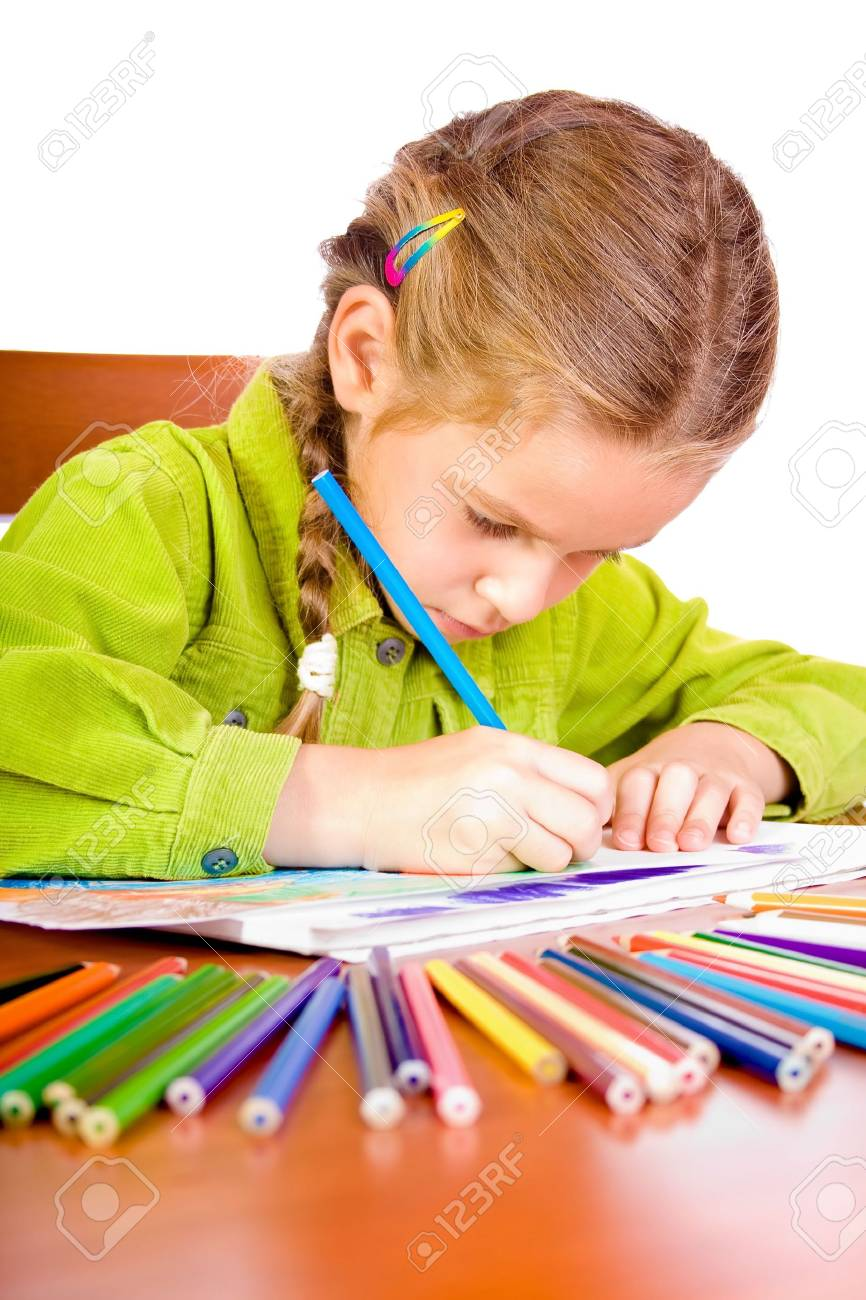Sitting young girl with crayons Stock Photo - 3458146