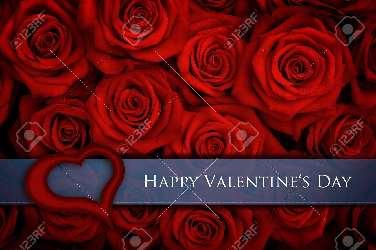 Valentine Card With Big Bunch Of Red Roses Photo Picture – Big Valentine Card