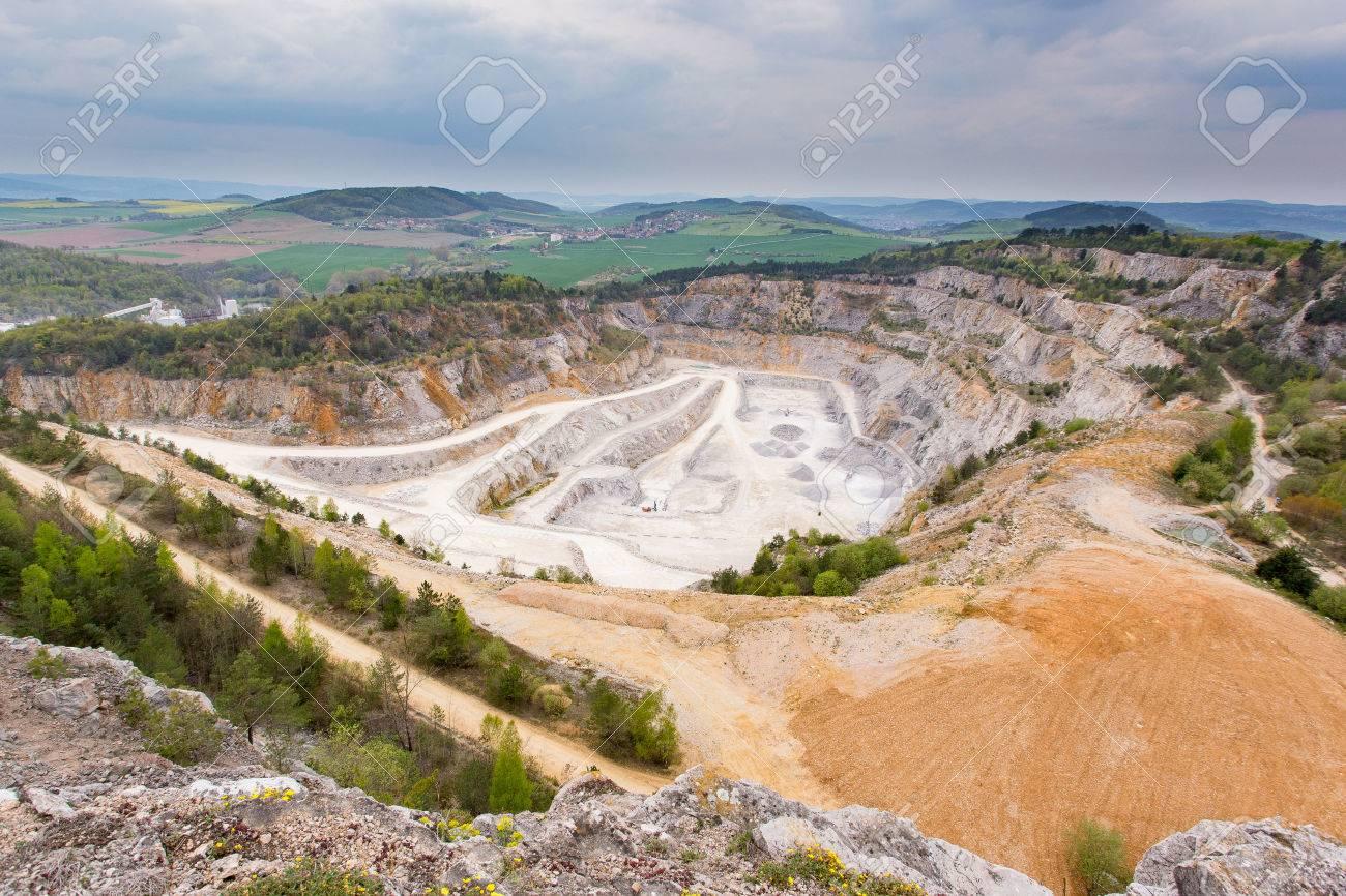 Limestone mine in Koneprusy, Czech Republic  Deep opencast mines