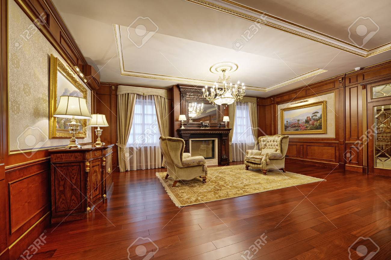 Russia Moscow Region Living Room Interior Design In New Luxury Stock Photo Picture And Royalty Free Image Image 92128731