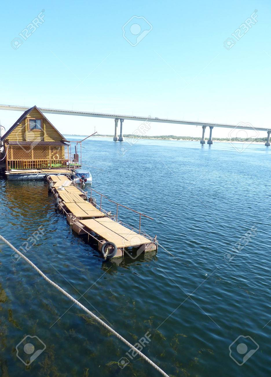 Floating Wooden Bath On The Volga River In The City Of Volgograd ...