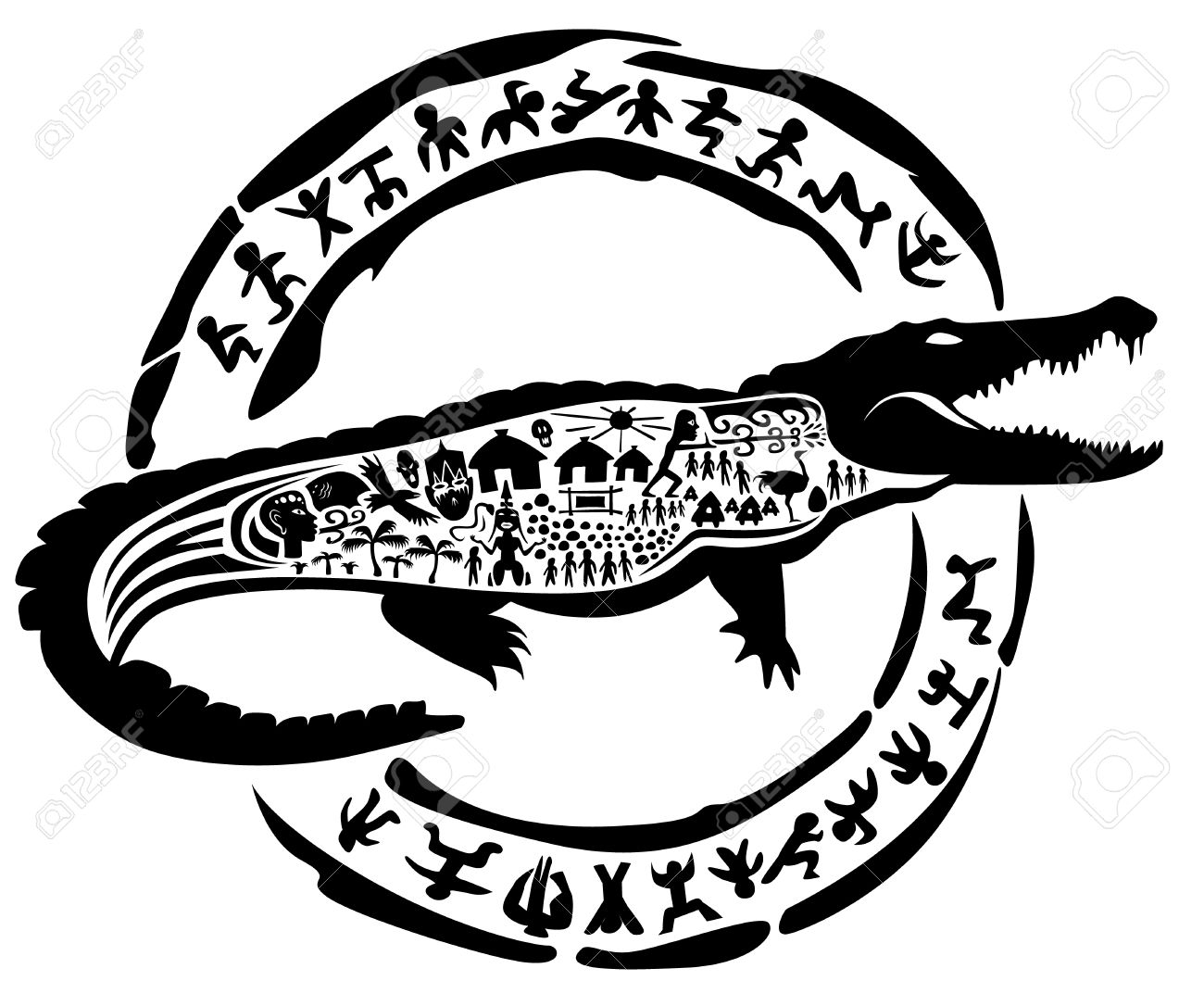 Crocodile Tribale Alligator Le Caïman Illustration Tatouage Timbre