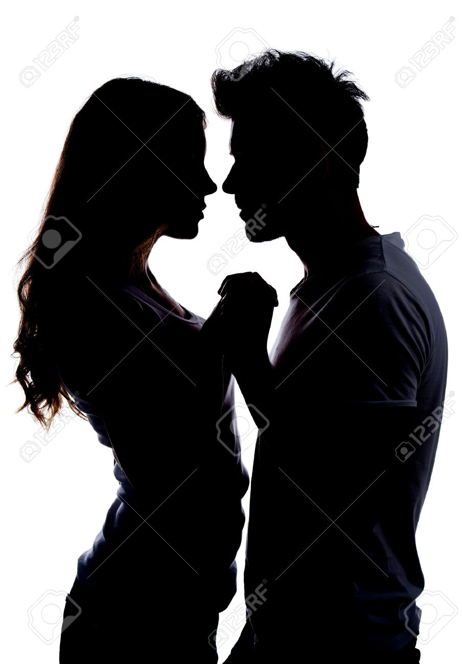 Two People Kissing Silhouette