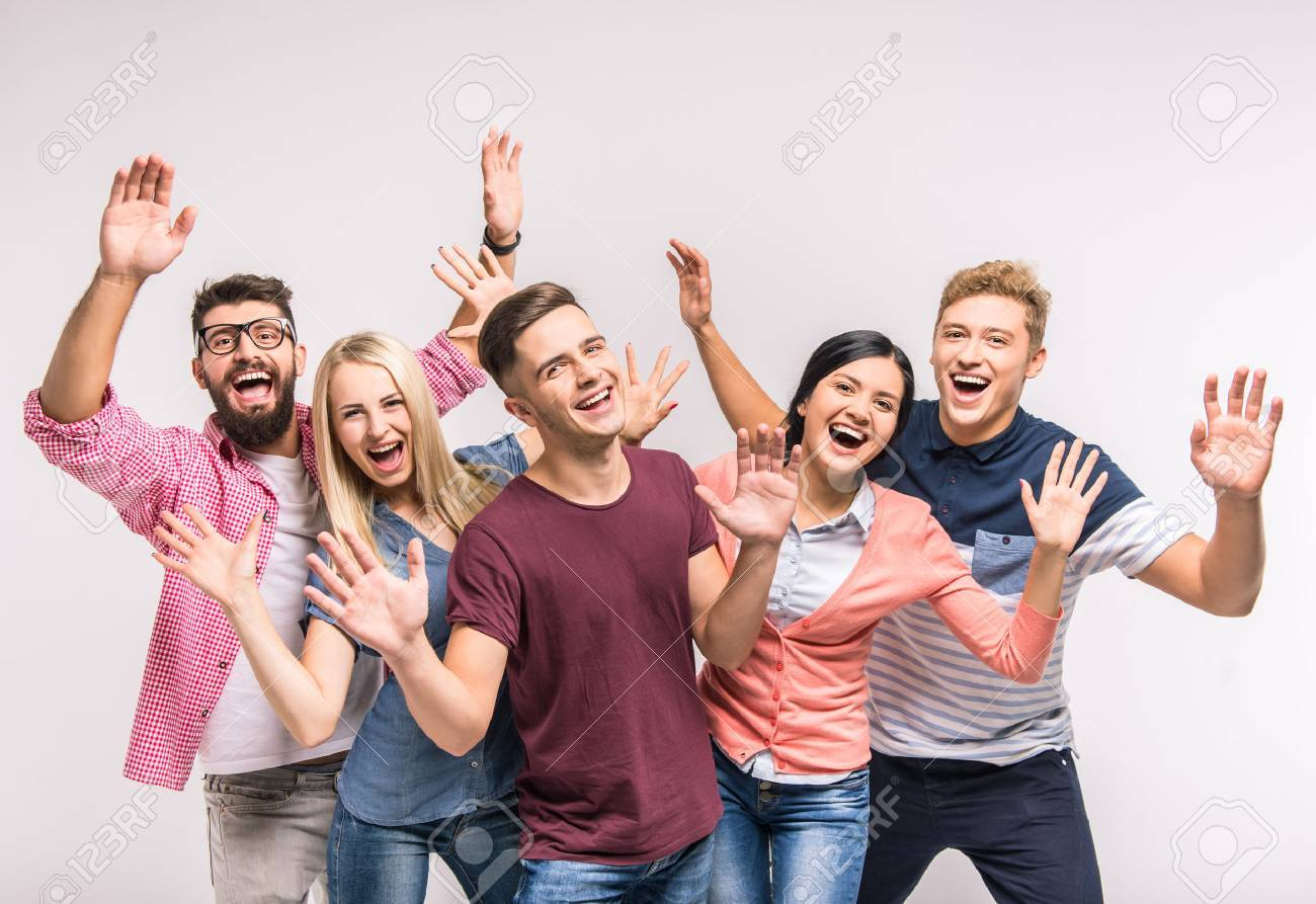 Funny young people on a gray background Standard-Bild - 45942767