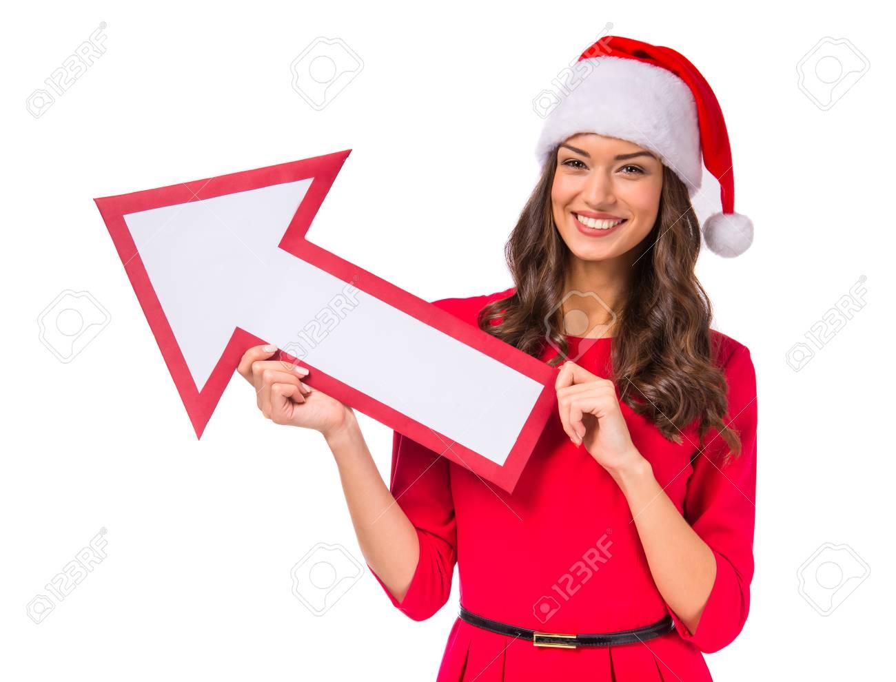 Ritratto Natale Donna Di Bellissima Con Cappello Una Un Giovane gg6wrR