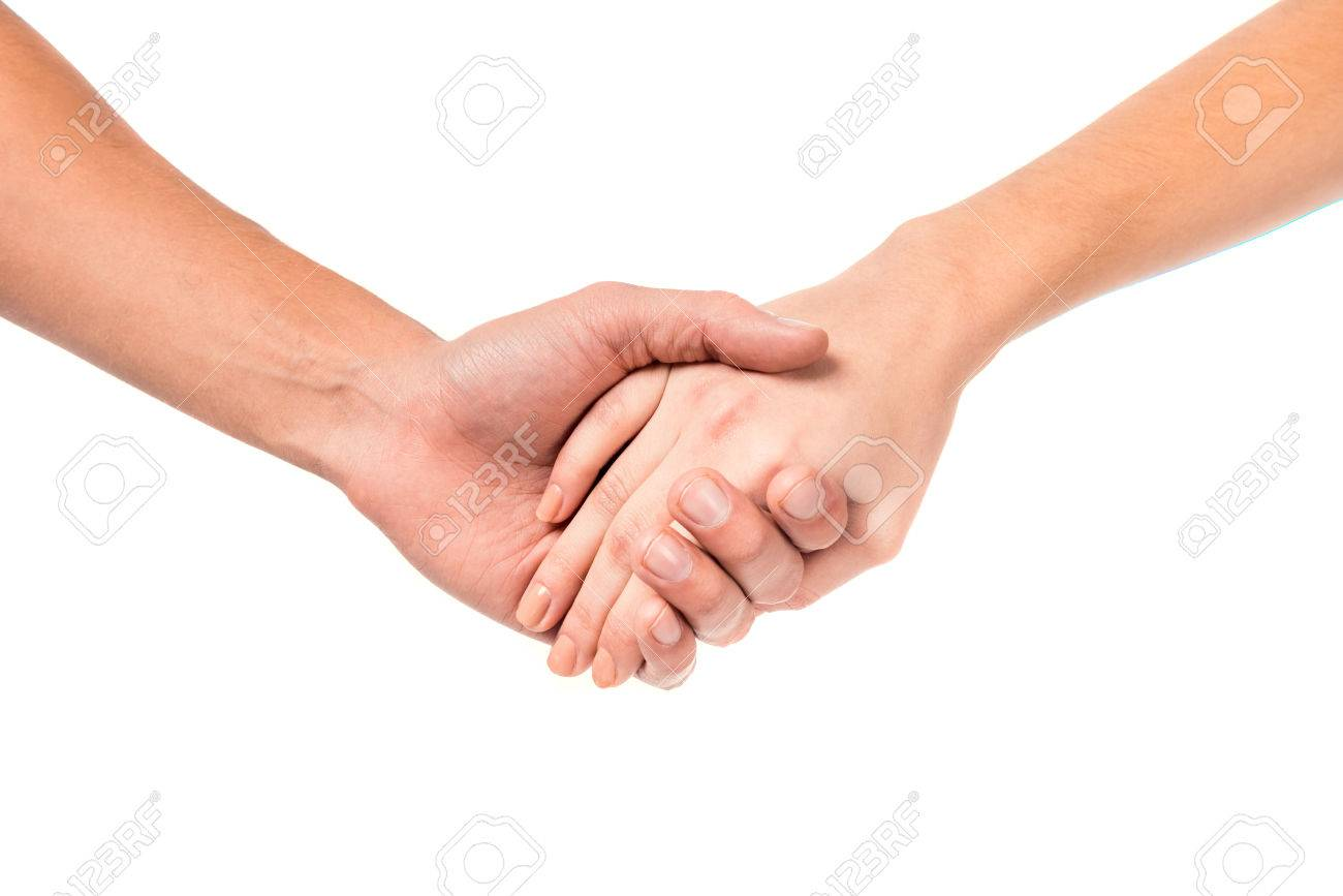 Young couples hand sign, isolated on a white background Standard-Bild - 49847897