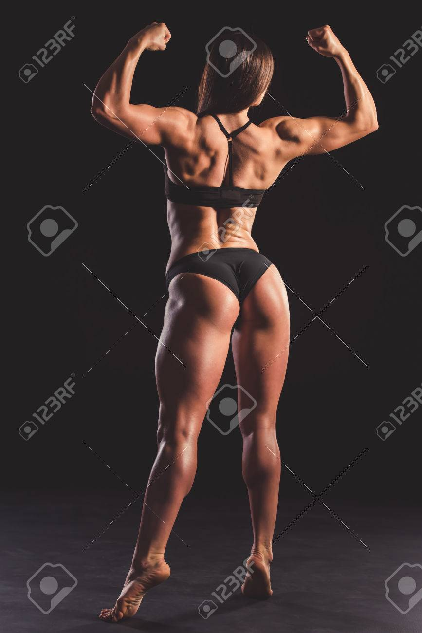 Back View Of Beautiful Strong Muscular Woman In Black Underwear ... 1f2f954a8