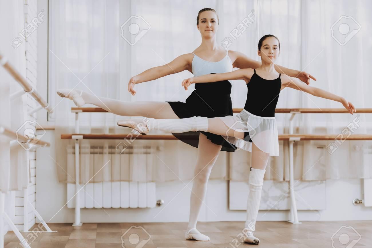 b9d488b7e53e Ballet Training Of Little Girl With Teacher Indoor. Classical ...