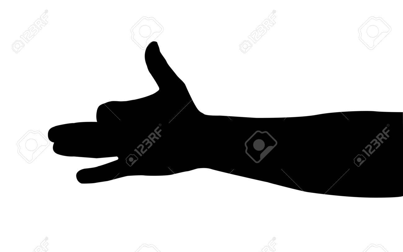 black silhouette of a hand on a white background Stock Vector - 10587046