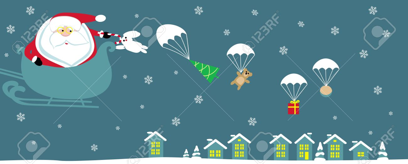 Cartoon Santa with bell in sleight dropping presents with parachutes. Vector - 11407920