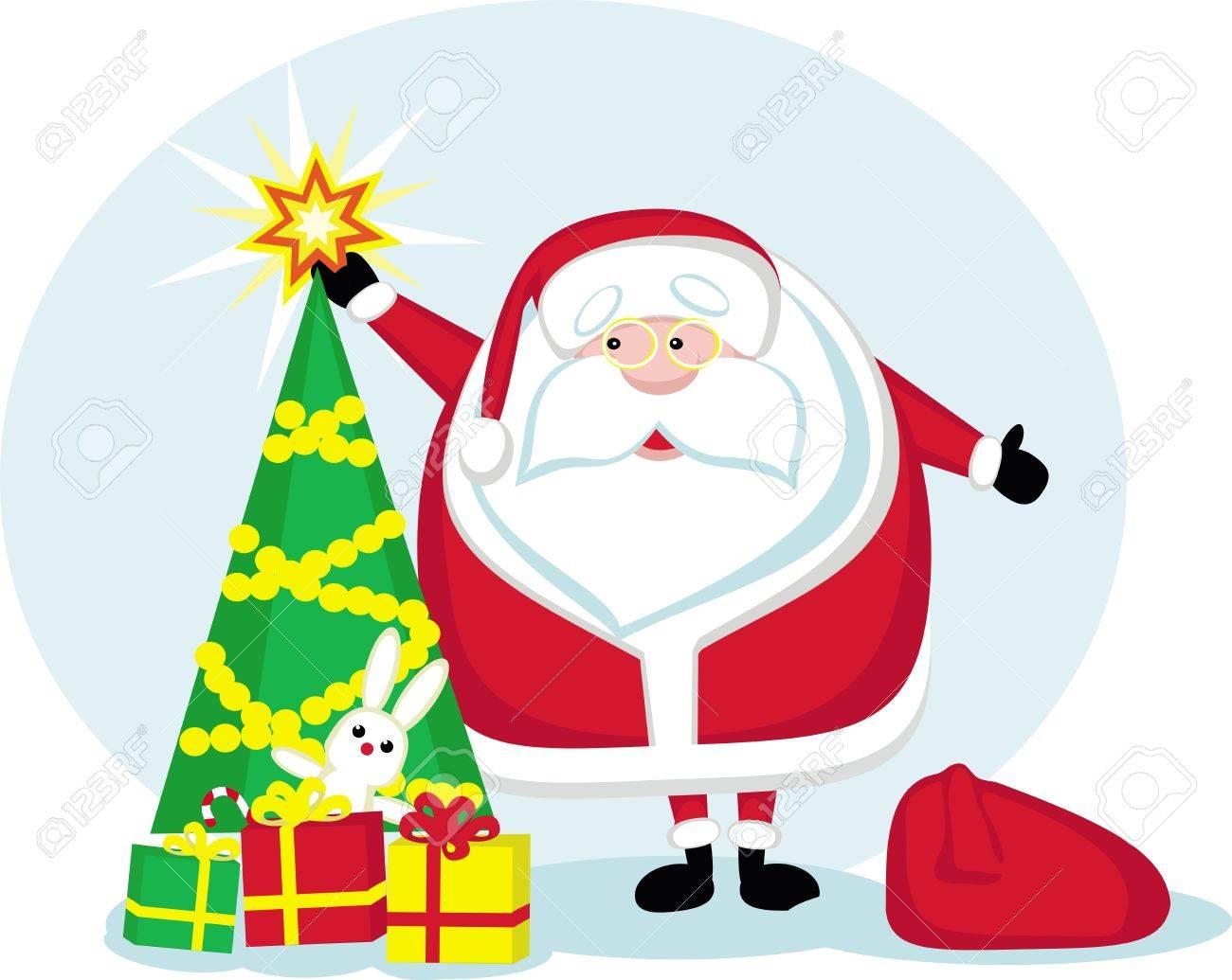 Cartoon Santa Holding A Star.Christmas Tree And Presents. Vector ...