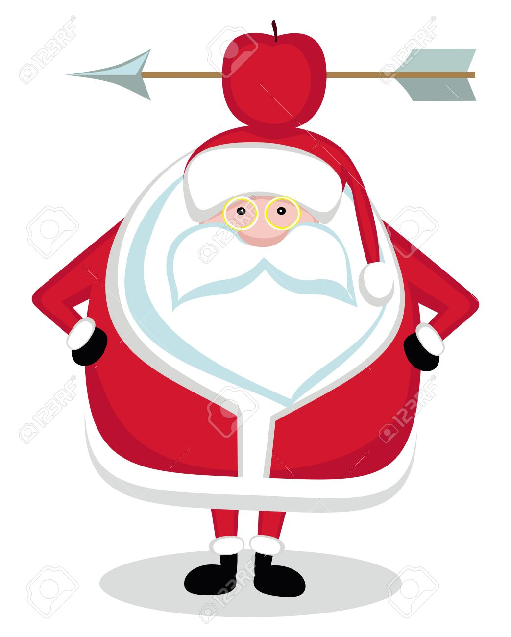 Santa With Red Apple And Arrow On Head. Vector Royalty Free ...