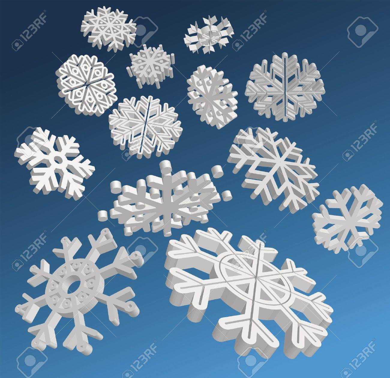 Falling 3D snowflakes. Stock Vector - 11681371