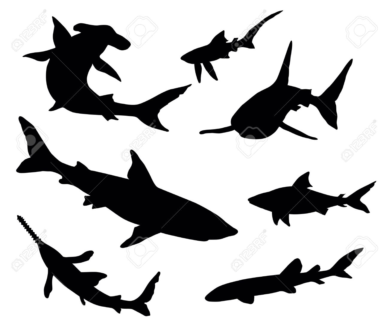 Vector silhouettes of sharks Stock Vector - 11914502