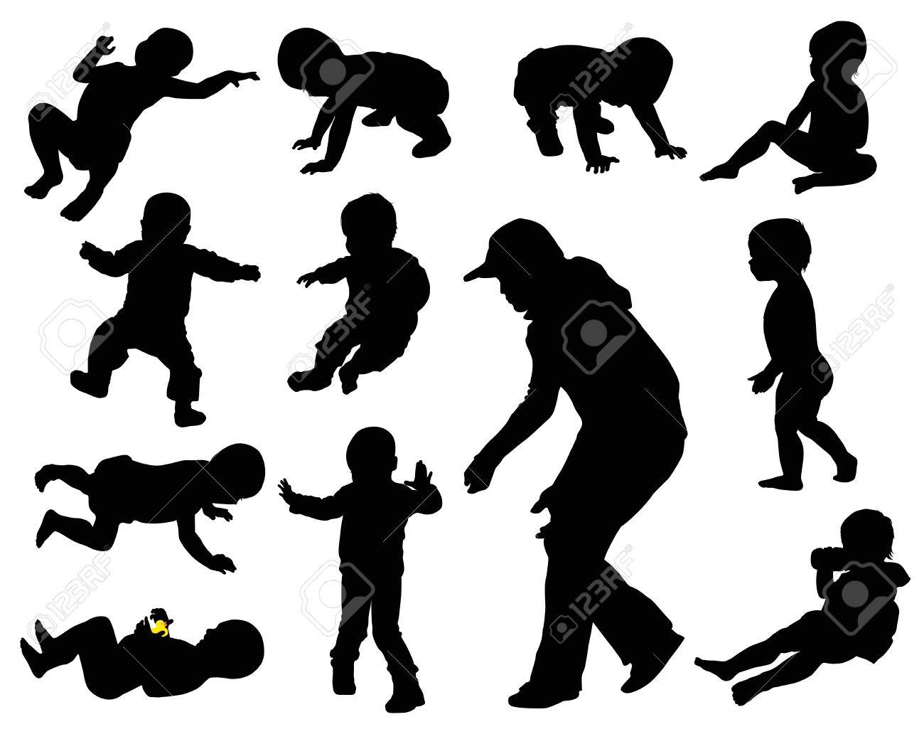 Baby silhouettes collection. Stock Vector - 12307817