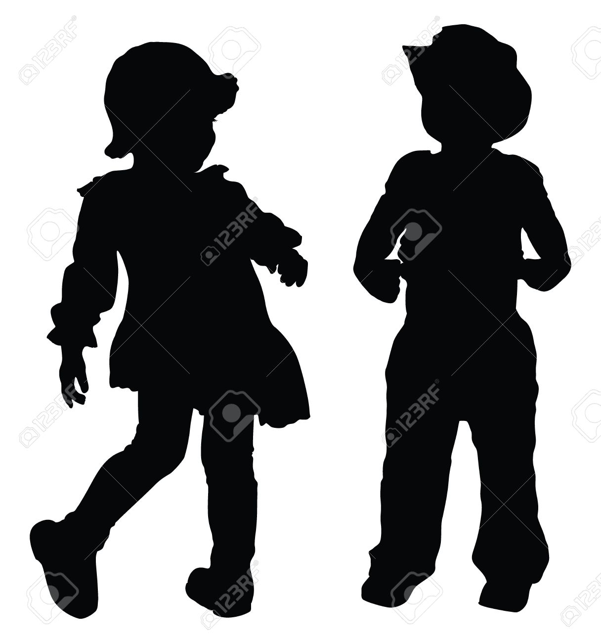 Silhouettes of boy and girl playing Retro style Stock Vector - 12420487