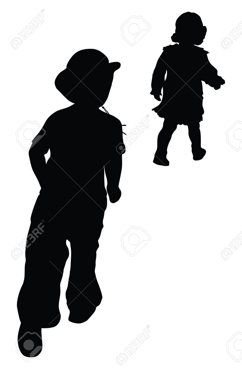 44a76401318 Silhouettes of boy in cowboy hat and girl running Retro style Stock Vector  - 12420497