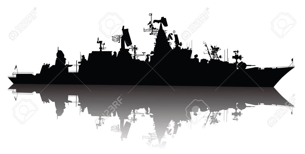 Soviet  russian  guided missile cruiser  silhouette Stock Vector - 12850996