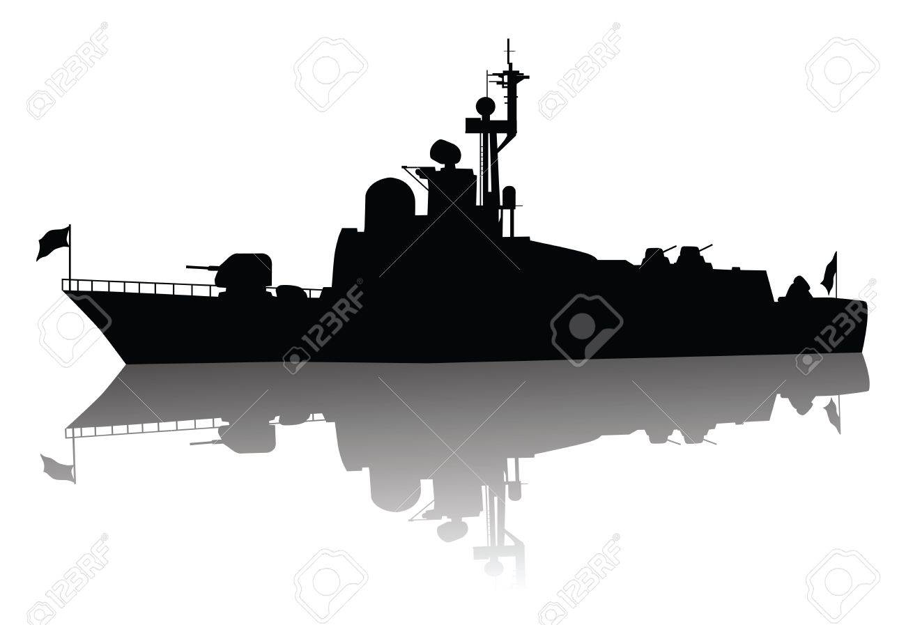 Soviet  russian  missile boat  silhouette  Vector on separate layers Stock Vector - 12850924