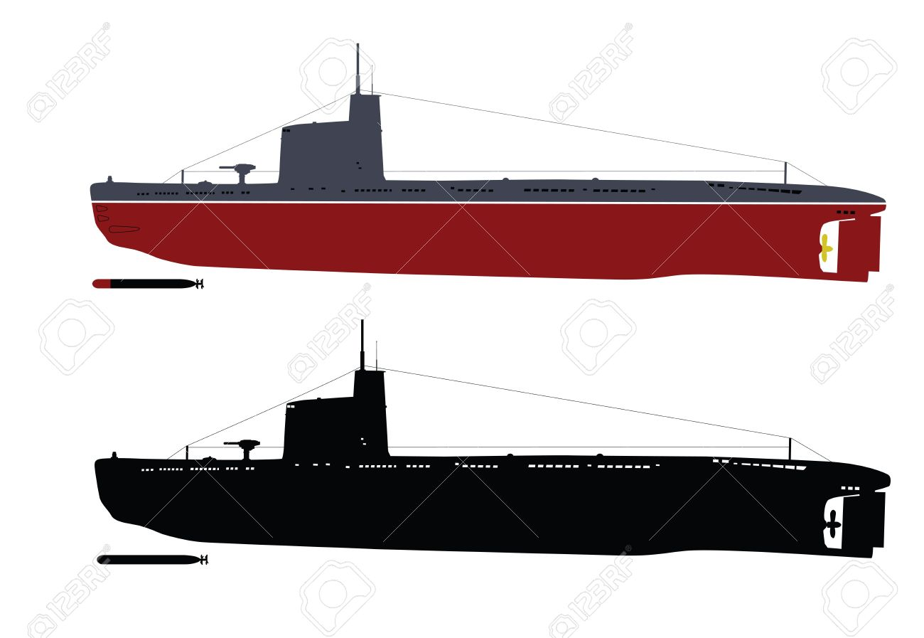 Soviet M-class  Malyutka  submarine  illustration  color and black white    Separate layers Stock Vector - 12956228