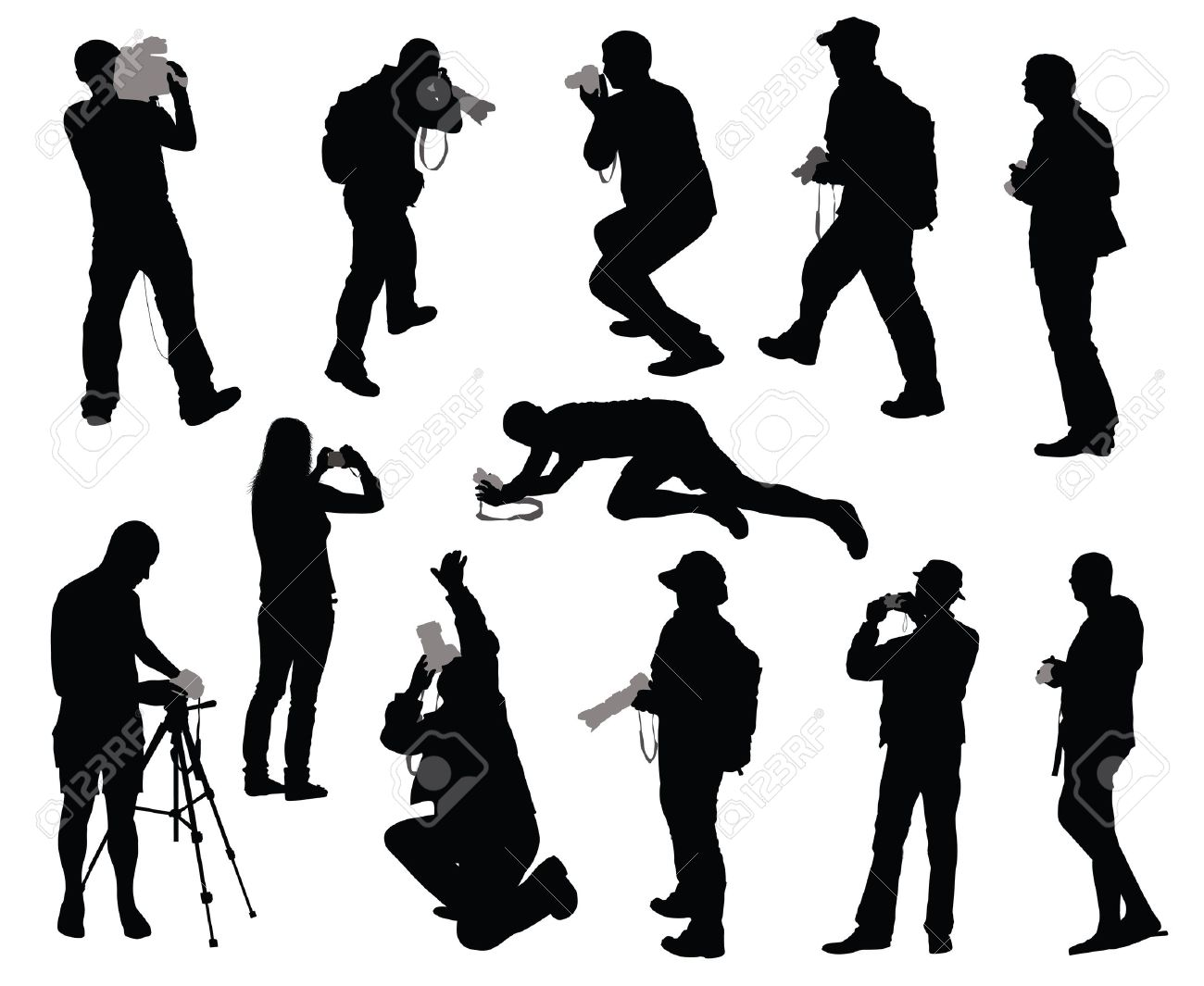 Silhouettes of people taking photos Stock Vector - 13040903