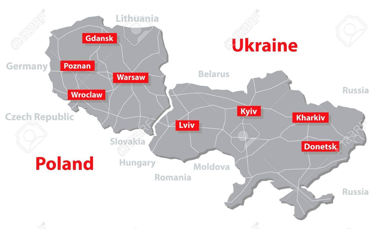 Euro 2012 Host Countries Map Poland And Ukraine Separate Layers