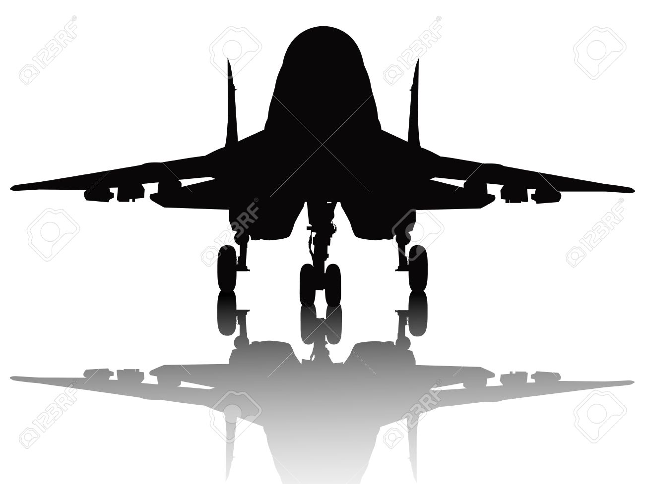 Jet fighter with reflection detailed silhouette  Separate layers Stock Vector - 14163185