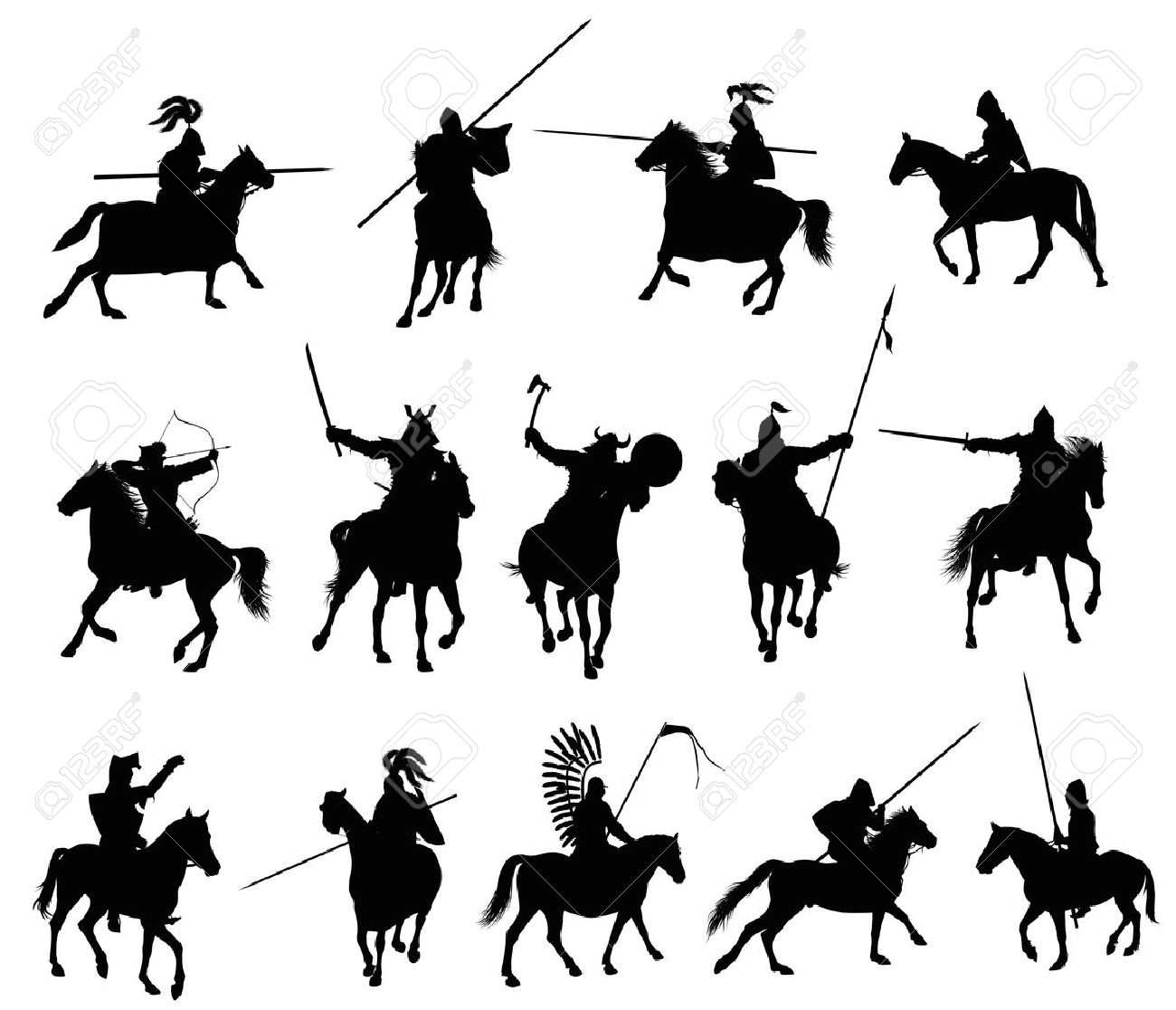 Knights and medieval warriors on horseback detailed silhouettes set Vector - 14634420