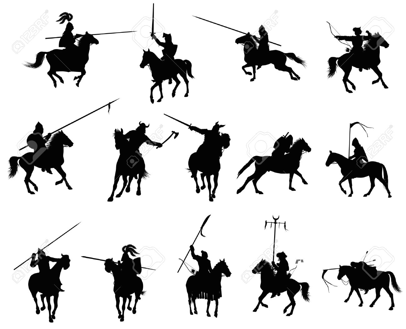 Knights and medieval warriors on horseback detailed silhouettes set  Vector Stock Vector - 14634419