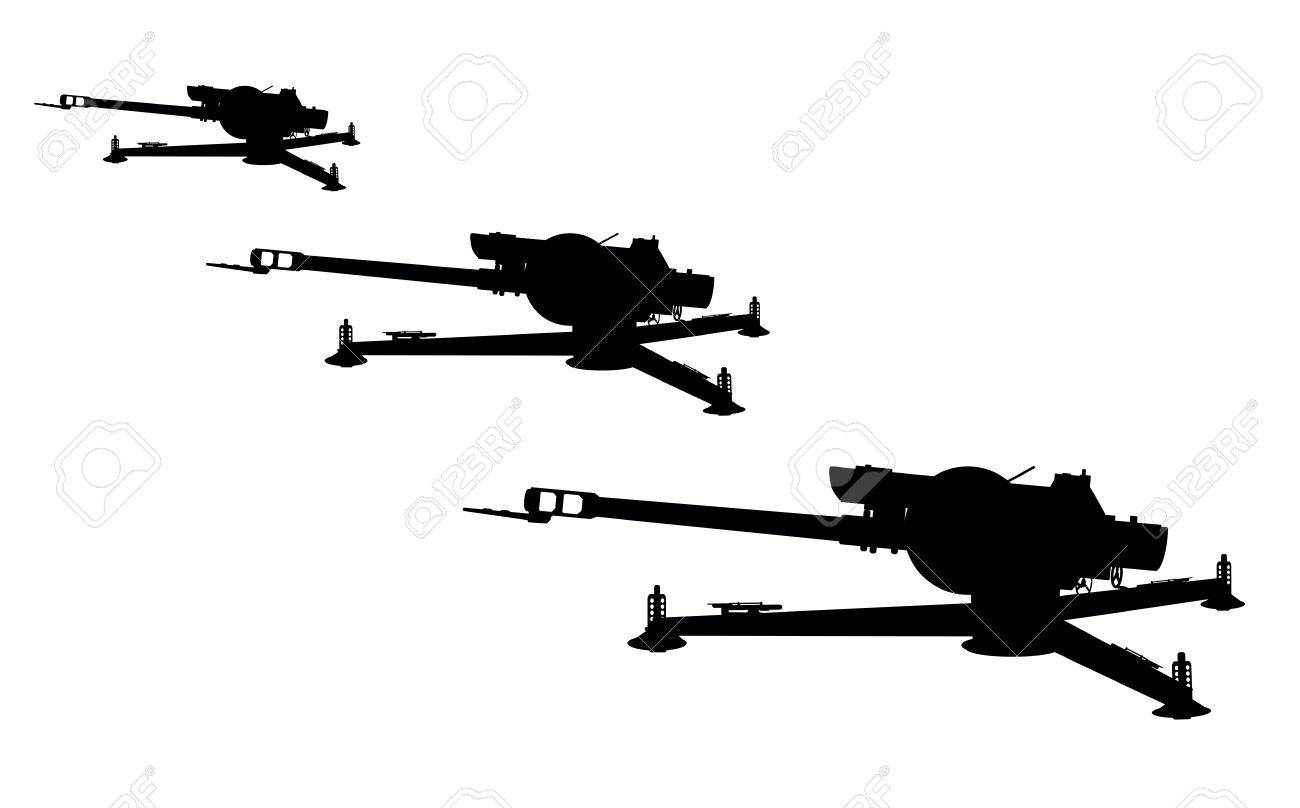D-30 howitzer vector silhouette Stock Vector - 15304607