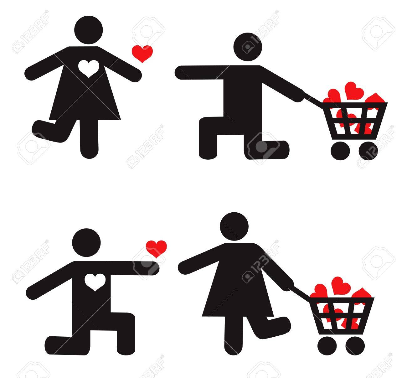 Stylized man and woman vector icons. Love concept Stock Vector - 17830971