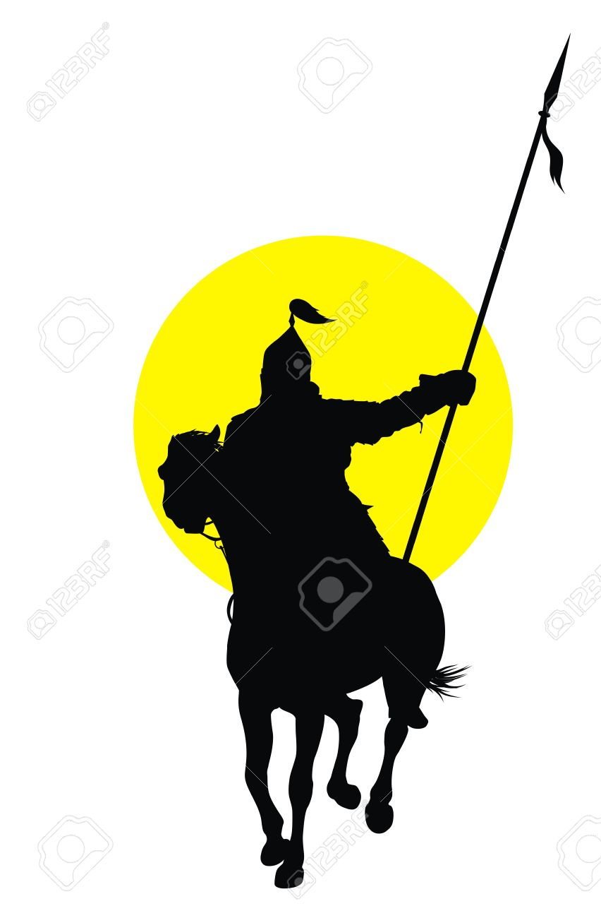Medieval oriental warrior on horseback detailed vector silhouette Stock Vector - 18577280