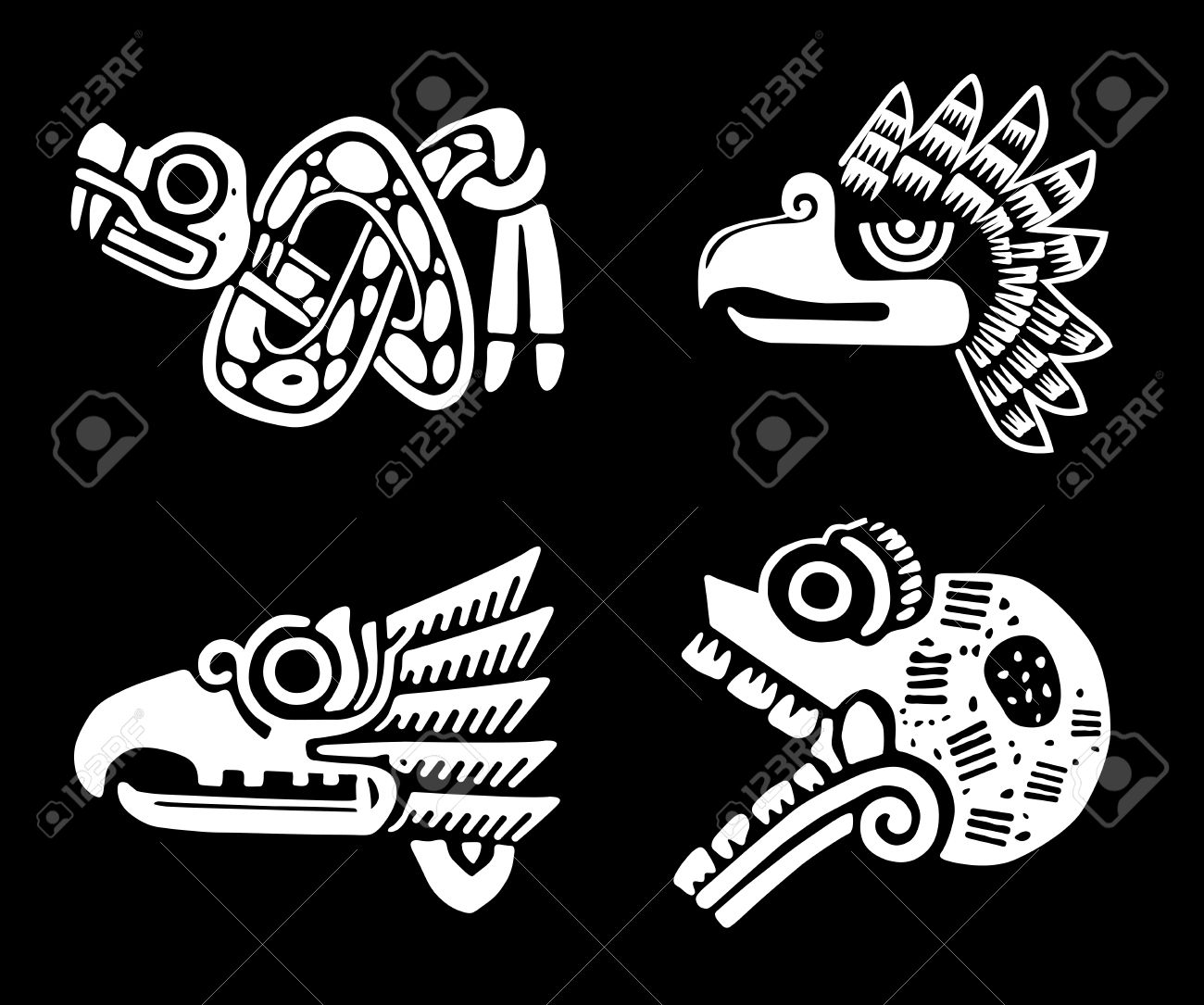 Snake eagle stock photos pictures royalty free snake eagle mexican tribal symbols set biocorpaavc